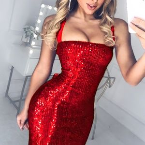 🔥NEW Red or Black Sequined Bandage Bodycon Dress